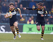 Nick Robinson of London Wasps RFC points the way for Dominic Waldouck - London Wasps RFC vs Saracens RFC - Aviva Premiership Rugby at Adams Park, Wycombe Wanderers FC - 12/02/12 - MANDATORY CREDIT: Ray Lawrence/TGSPHOTO - Self billing applies where appropriate - 0845 094 6026 - contact@tgsphoto.co.uk - NO UNPAID USE.