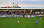 Hartlepool United 0 Sunderland 3, 20/07/2016. Victoria Park, Pre Season Friendly. HMS Trincomalee Britain's oldest surviving warship is in the background. Photo by Paul Thompson.