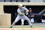 WAKE FOREST, NC - APRIL 15: Notre Dame's Kyle Fiala bunts in the first inning. The Wake Forest Demon Deacons hosted the University of Notre Dame Fighting Irish on April 15, 2017, at David F. Couch Ballpark in Wake Forest, NC in a Division I College Baseball game. Wake Forest won the game 13-7.