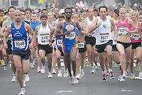 Athletes run south along Barnard Way during the Fifth Santa Monica Classic 5K/10K on Sunday, May 16, 2010. More than 4,000 people will participated in the Santa Monica Classic which raised money and awareness for Heal the Bay, an organization that keeps coastal waters safe and clean in Southern California...