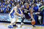 26 November 2014: Furman's Kris Acox (ISL) (21) and Duke's Grayson Allen (left). The Duke University Blue Devils hosted the Furman University Paladins at Cameron Indoor Stadium in Durham, North Carolina in a 2014-16 NCAA Men's Basketball Division I game. Duke won the game 93-54.