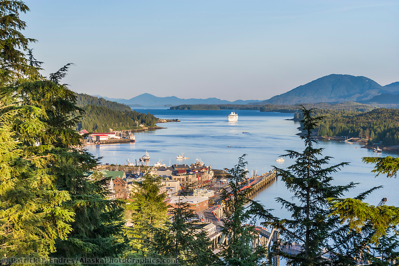 Overview of downtown Ketchikan, Pennock Island, and the Tongass Narrows. Cruise ship departs to the southeast.