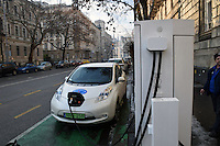 Electric car charging point, Budapest, Hungary