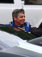 Jun 20, 2015; Bristol, TN, USA; NHRA pro stock driver Kenny Delco during qualifying for the Thunder Valley Nationals at Bristol Dragway. Mandatory Credit: Mark J. Rebilas-