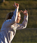WINSTED, CT-041817JS14- Lewis Mills' Morgan Sederquist celebrates after clearing 5'6&quot; to win the high jump  during their meet  with Gilbert and Litchfield Tuesday at Northwest Regional High School in Winsted. <br /> Jim Shannon Republican-American