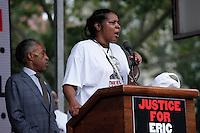 Eric Garner's widow, Esaw Garner speaks during a rally for the first anniversary of the death of Eric Garner in Brooklyn New York 07/18/2015. Kena Betancur/VIEWpress