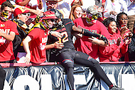 College Park, MD - OCT 15, 2016: Elijah Daniels (12) jumps into the stands during warm up's before game between Maryland and Minnesota at Capital One Field at Maryland Stadium in College Park, MD. (Photo by Phil Peters/Media Images International)