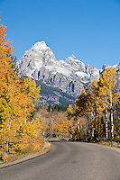 Scenic highway through Grand Teton National Park in the fall