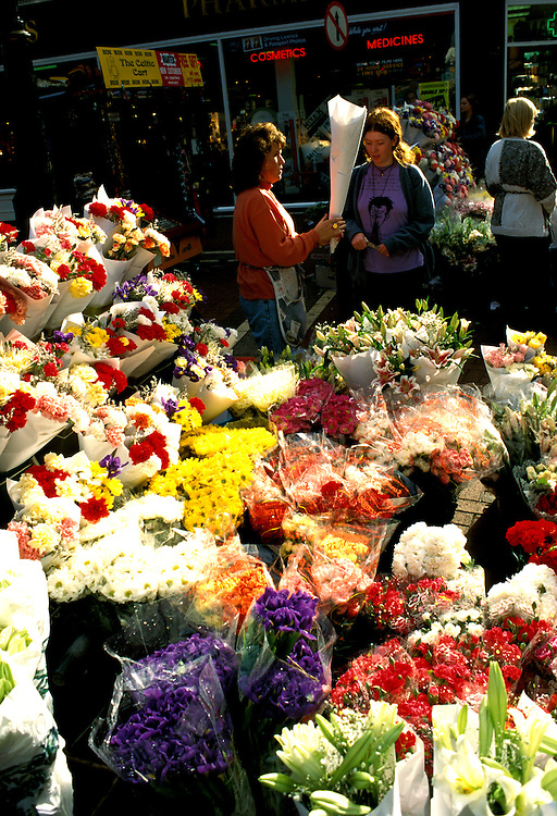 Ireland: Dublin, Flower market on Grafton Street.  Photo: dublin105.Photo copyright Lee Foster, 510/549-2202, lee@fostertravel.com, www.fostertravel.com