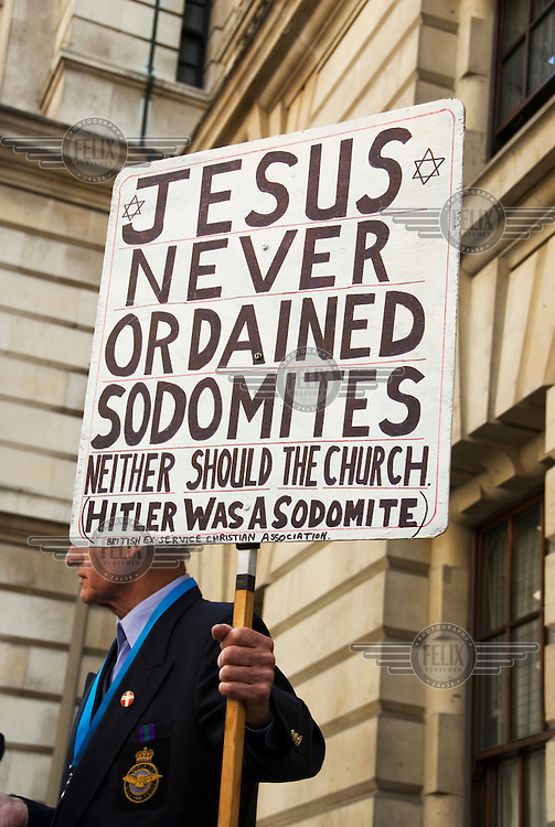 Lambeth Conference, an assembly of Anglican bishops. A lone protester objects to the Anglican church's line on homosexuality.