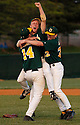 "Greenwood High School's Jason Smith, Sam WIlliams and Bill Borders celebrate their win over Warren East High School in the 14th District baseball championship at Bowling Green High School. aekdb ""Big League Win"""