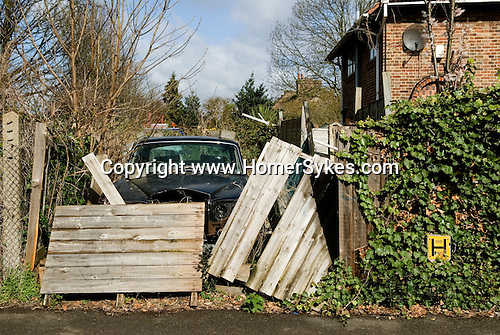 Abandoned rolls royce suburban urban landscape. south london. england