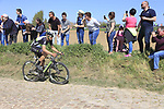 The peloton including Jay Thomson (RSA) Dimension Data on pave sector 25 Briastre a Solesmes during the 115th edition of the Paris-Roubaix 2017 race running 257km Compiegne to Roubaix, France. 9th April 2017.<br /> Picture: Eoin Clarke | Cyclefile<br /> <br /> <br /> All photos usage must carry mandatory copyright credit (&copy; Cyclefile | Eoin Clarke)