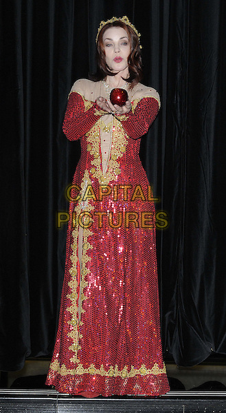 Priscilla Presley.Press launch to star in New Wimbledon Theatre's annual pantomime offering 'Snow White and the Seven Dwarfs' at The Savoy, Strand, London, England..September 26th, 2012.panto costume full length gold red dress crown sequins sequined apple .CAP/CAN.©Can Nguyen/Capital Pictures.