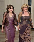 United States Secretary of Labor Hilda Solis and Rebecca Zapanta arrive for the Official Dinner in honor of Prime Minister David Cameron of Great Britain and his wife, Samantha, at the White House in Washington, D.C. on Tuesday, March 14, 2012..Credit: Ron Sachs / CNP.(RESTRICTION: NO New York or New Jersey Newspapers or newspapers within a 75 mile radius of New York City)