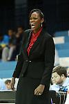 05 December 2012: Radford head coach Tajama Abraham Ngongba (VIR). The University of North Carolina Tar Heels played the Radford University Highlanders at Carmichael Arena in Chapel Hill, North Carolina in an NCAA Division I Women's Basketball game. UNC won the game 64-44.