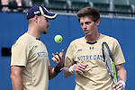 03 April 2015: Notre Dame's Billy Pecor (left) and Alex Lawson (right). The Duke University Blue Devils hosted the University of Notre Dame Fighting Irish at Ambler Stadium in Durham, North Carolina in a 2014-15 NCAA Division I Men's Tennis match. Duke won the match 5-2.
