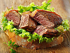 Sirloin steak sandwich & salad