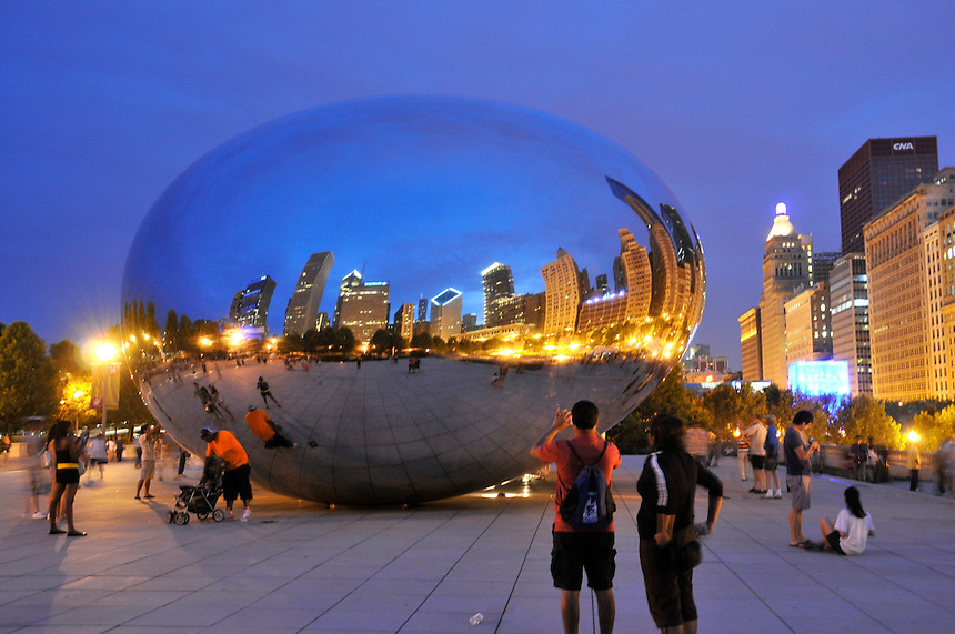 Cloud Gate, Anish Kapoor's stainless steel sculpture in Chicago's Millennium Park. Also known as the bean and probably the most photographed object in the city. Ernie Mastroianni photo.