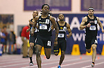 10 MAR 2012:  Dominic Smith of American International leading the 400 meter race during the Division II Men's and Women's Indoor Track and Field Championship held at Myers Fieldhouse on the campus of Minnesota State University, Mankato, in Mankato, MN. Smith won the race with a time of 47.84. Brian Fowler/NCAA Photos