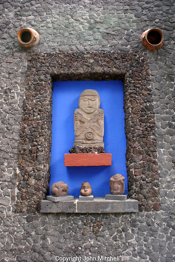 Pre Columbian sculptures at the Museo Frida Kahlo, also known as the Casa Azul, or Blue house, Coyoacan, Mexico City