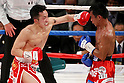 (L to R) Takahiro Aoh (JPN), Terdsak Kokietgym (THA), APRIL 6, 2012 - Boxing : Takahiro Aoh of Japan in action against Terdsak Kokietgym of Thailand during the WBC Super Feather weight title bout at Tokyo international forum in Tokyo, Japan. Takahiro Aoh won the fight on points after12th rounds. (Photo by Yusuke Nakanishi/AFLO) [1090]