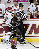 Kelli Stack (BC - 16), Laurie Jolin (Brown - 28) - The Boston College Eagles defeated the visiting Brown University Bears 5-2 on Sunday, October 24, 2010, at Conte Forum in Chestnut Hill, Massachusetts.