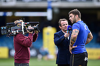 Matt Banahan of Bath Rugby is interviewed by Austin Healey for BT Sport prior to the match. Aviva Premiership match, between Bath Rugby and Exeter Chiefs on October 17, 2015 at the Recreation Ground in Bath, England. Photo by: Patrick Khachfe / Onside Images