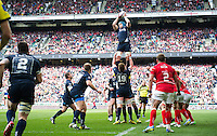Musn Edd Pascoe of the Royal Navy wins the ball at a lineout. Babcock Inter-Services Championship match between the British Army and the Royal Navy on April 30, 2016 at Twickenham Stadium in London, England. Photo by: Patrick Khachfe / Onside Images