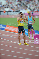 Rhys Williams of Great Britain prepares to run the Mens 400m Hurdles race at the Sainsbury Anniversary Games, Olympic Stadium, London England, Saturday 27th July 2013-Copyright owned by Jeff Thomas Photography-www.jaypics.photoshelter.com-07837 386244. No pictures must be copied or downloaded without the authorisation of the copyright owner.
