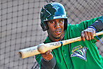 29 June 2012: Vermont Lake Monsters' infielder Jensi Peralta works on bunting practice drills prior to a game against the Lowell Spinners at Centennial Field in Burlington, Vermont. Mandatory Credit: Ed Wolfstein Photo
