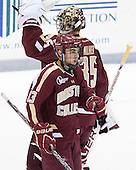 Johnny Gaudreau (BC - 13), Parker Milner (BC - 35) - The Providence College Friars tied the visiting Boston College Eagles 3-3 on Friday, December 7, 2012, at Schneider Arena in Providence, Rhode Island.