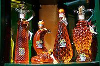 Corfu traditional kumquat liquor bottles