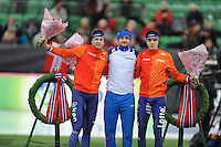 SPEED SKATING: HAMAR: Vikingskipet, 05-03-2017, ISU World Championship Allround, Podium 1500m Men, Sven Kramer (NED), Denis Yuskov (RUS), Patrick Roest (NED), ©photo Martin de Jong