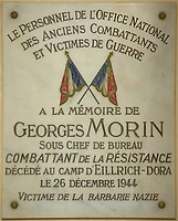 A commemorative plaque honoring Georges Morin mounted on an interior wall of the National Residence of the Invalids, Paris, France