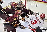 2 January 2009: Ferris State Bulldogs' goaltender Taylor Nelson, a Freshman from Regina, Sask., gives up a third period goal to the St. Lawrence Saints during the first game of the 2009 Catamount Cup Ice Hockey Tournament hosted by the University of Vermont at Gutterson Fieldhouse in Burlington, Vermont. The Saints defeated the Bulldogs 5-4 to move onto the championship game against the University of Vermont Catamounts...Mandatory Photo Credit: Ed Wolfstein Photo
