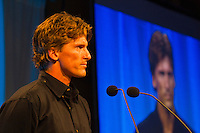 Haleiwa Hawaii, (Monday December 6, 2010) .Monday, Bruce Irons (HAW) acepting his brother Andys Surfer Poll Award.  40th annual SURFER Poll Awards were held tonight at Turtle Bay Resort on Oahu's North Shore..Sal Masekela (USA)  returned to serve as the Master of Ceremonies for the event with charismatic Hawaiian surf star Fred Patacchia as co-host .This year's SURFER Poll Awards were held in honor of recently lost legend, three-time World Champion Andy Irons. While acknowledging all of the surfers lost this year, the event  put a heavy focus on Andy and the legacy he leaves behind in and out of the water. Another focal point of this year's show was  Kelly Slater's 10th world title win. Touted as the world's most dominant athlete, Kelly's accomplishments have catapulted the sport of surfing and garnered the world's attention. Kelly was award the male Surfer of the Year award with Stephanie Gilmore (AUS) taking out the Female Surfer of the Year..Photo: joliphotos.com