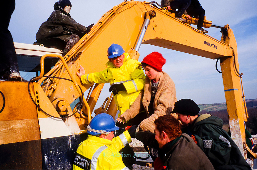 Twyford down road protest , the  first digger diving actions.