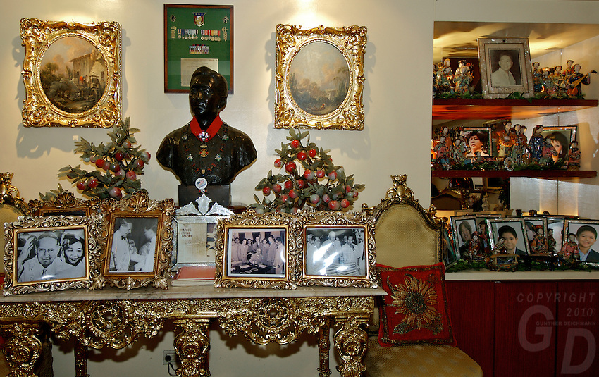 Imelda Marcos, decor in her Appartment, and photos of her children