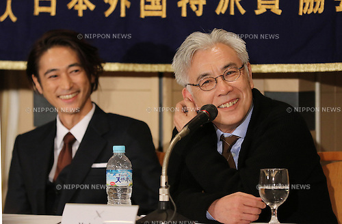 "January 12, 2017, Tokyo, Japan - Japanese cast of the U.S. movie ""Silence"" Issey Ogata (R) speaks before foreign journalists wile Yosuke Kubozuka looks on in Tokyo on Thursday, January 12, 2017. The movie ""Silence"", written by Japanese author Shusaku Endo and directed by Martin Scorsese of the United States, will be screening in Japan from January 21.   (Photo by Yoshio Tsunoda/AFLO) LWX -ytd-"