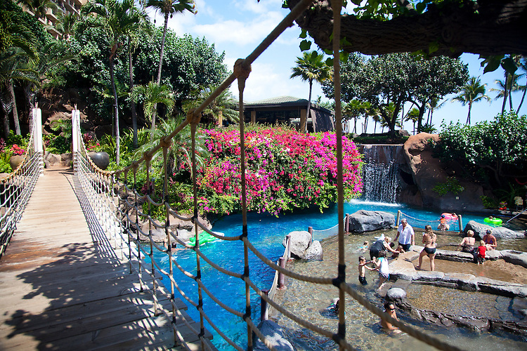 The Swimming Pool Area At The Hyatt Regency Maui Which Is Just Steps From The Ocean In
