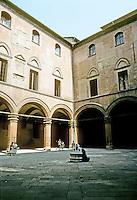 Italy: Bologna--Palazzo Communale, court, loggia. Photo '83.