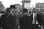 Young Conservatives at a political rally Trafalgar Square,  Forward Again with the Tories London England. 1968
