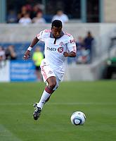 Toronto defender Danleigh Borman (25) dribbles down the field.  The Chicago Fire defeated Toronto FC 2-0 at Toyota Park in Bridgeview, IL on August 21, 2011.