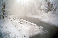 Snow Covered Liard Hot Springs in Liard River Hot Springs Provincial Park, Northern British Columbia, Canada, Winter