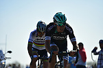 Maciej Bodnar (POL) and World Champion Peter Sagan (SVK) Bora-Hansgrohe put the power down on pave sector 17 Hornaing to Wandignies during the 115th edition of the Paris-Roubaix 2017 race running 257km Compiegne to Roubaix, France. 9th April 2017.<br /> Picture: ASO/P.Ballet | Cyclefile<br /> <br /> <br /> All photos usage must carry mandatory copyright credit (&copy; Cyclefile | ASO/P.Ballet)