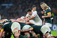 Ben Youngs of England looks to put the ball into a scrum. Old Mutual Wealth Series International match between England and South Africa on November 12, 2016 at Twickenham Stadium in London, England. Photo by: Patrick Khachfe / Onside Images