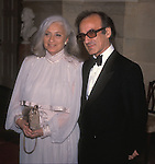 Fashion designer James Galanos (companion unknown) at the White House for the Inauguration of President Regan in January 1985. Galanos designed Nancy Reagan's ball gown that year.