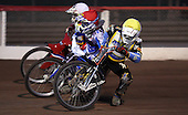 Heat 2: Lewis Rose (yellow) falls, Jack Kingston (red) and Liam Rumsey (white) - Lakeside Young Hammers vs Kings Lynn Lightning, Anglian Junior League Speedway at the Arena Essex Raceway, Pufleet - 22/06/12 - MANDATORY CREDIT: Rob Newell/TGSPHOTO - Self billing applies where appropriate - 0845 094 6026 - contact@tgsphoto.co.uk - NO UNPAID USE..