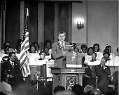 "Washington, DC - (FILE) -- United States Senator Edward M. ""Ted"" Kennedy (Democrat of Massachusetts) speaks at Shilo Baptist Church in Washington, D.C. on December 5, 1979.  Kennedy, a candidate for the 1980 Democratic Presidential nomination against U.S. President Jimmy Carter, criticized the President's handling of the Iran Hostage Crisis..Credit: Len Hawley / CNP"